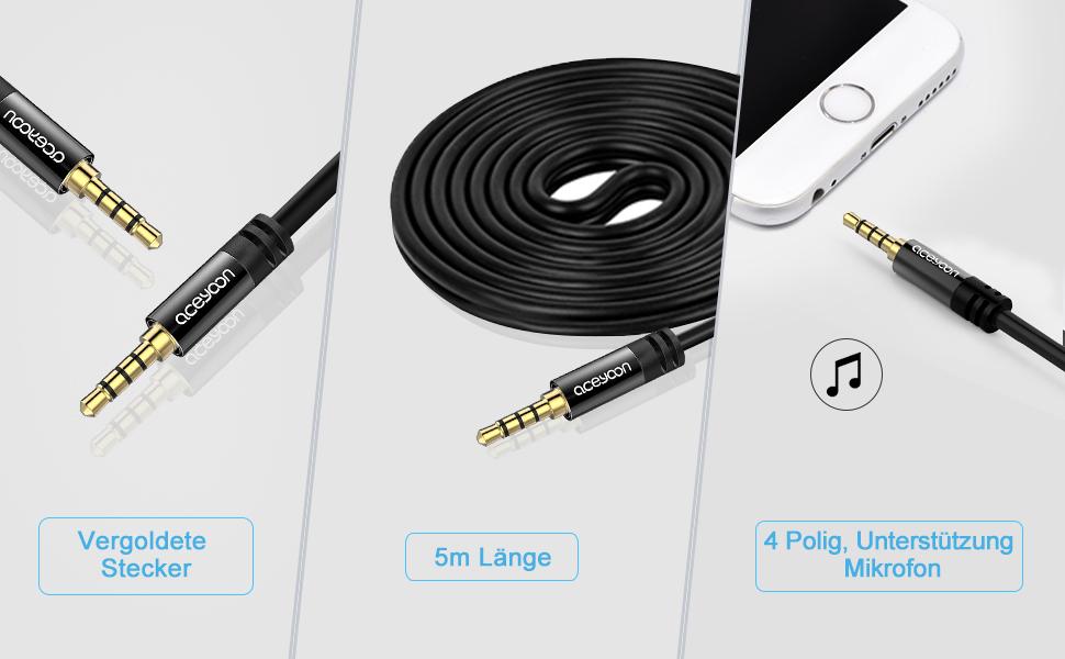 Aceyoon 3 5 Klinke Verlängerung 5m 4 Polig Aux Kabel Auto Handy 4 Poliges Headset Klinkenkabel Male Auf Male Kompatibel Mit Kopfhörer Kfz Stereo Audio Lautsprecher Schwarz Mehrweg Elektronik