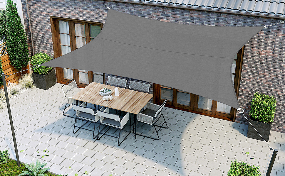 SONGMICS 2 x 3 m Vela Solar, Resistente al Agua Más Que 1000 mm, 93% Protección UV Vela Solar en Poliéster Resistente a Desgarro y Intemperie, para Patio, Terraza Camping, Gris Ahumado