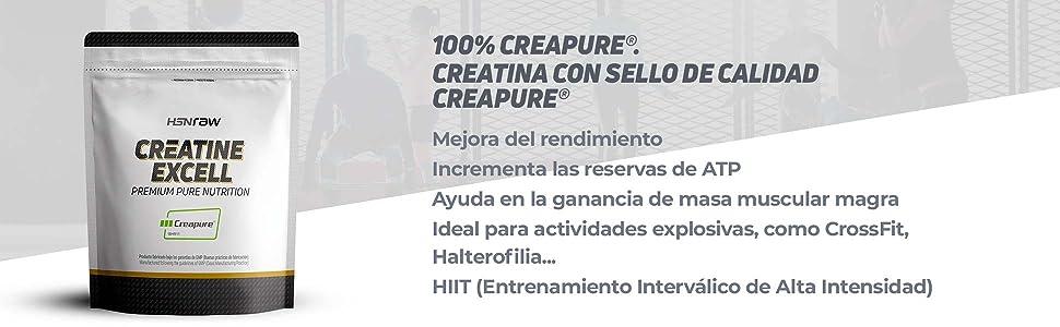 Creatina Creapure en Polvo de HSN | Creatina Excell 100% Creapure | Sello de Calidad Garantizada | Monohidrato de Creatina Micronizada | Vegano, Sin ...