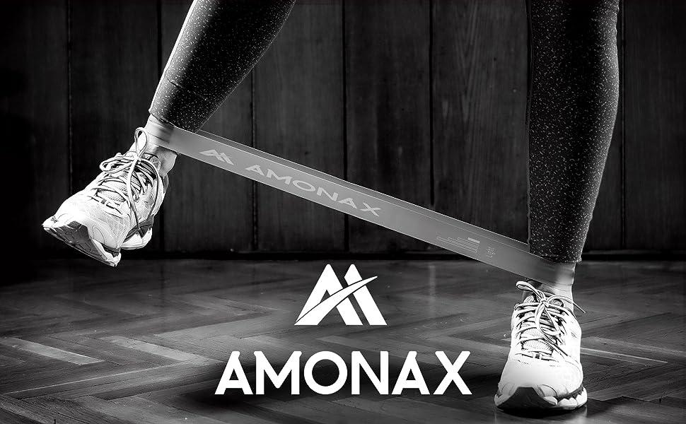 Amonax Bandas Elasticas Fitness, Cintas Elasticas Fitness Látex Natural con 4 Niveles Ejercicios en Piernas, Glúteos y Brazos, 4 Bandas Resistencia ...