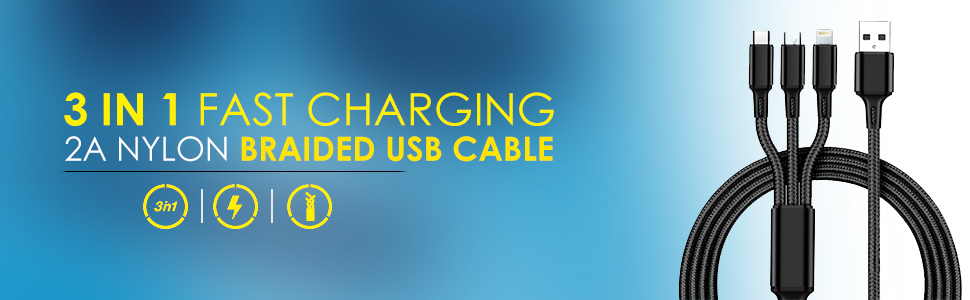 usb cables, 3 in 1 fast charging cable, fast charging usb cable