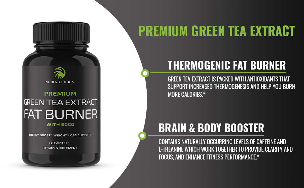 Nobi Nutrition Green Tea Fat Burner - Green Tea Extract Supplement with EGCG - Diet Pills, Appetite Suppressant, Metabolism & Thermogenesis Booster - Healthy Weight Loss for Women & Men 21