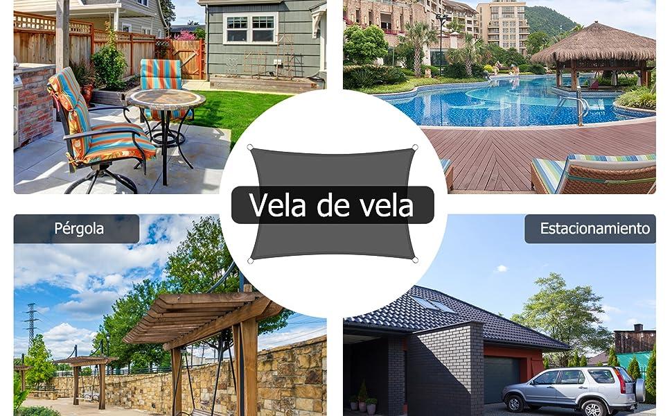 TOPLUS Vela de Sombra, para Jardín, Toldo Resistente a la Intemperie Protección Solar, PES Poliéster, 94% BloqueUV (2m x 3m): Amazon.es: Deportes y aire libre