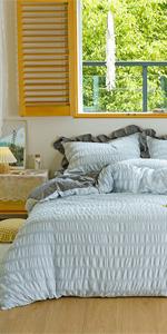 seersucker striped bedding comforter cover set