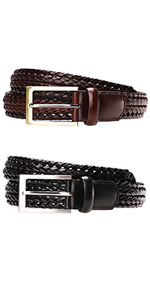 Braided leather belts men