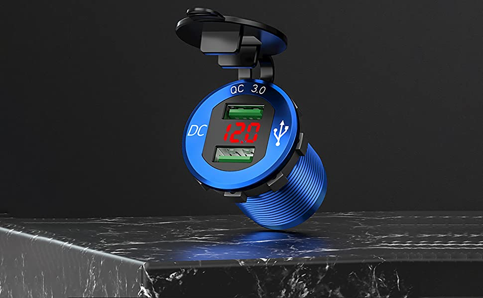 iMESTOU Aluminium Quick Charge 3.0 Marine Dual USB Phone Charger Adapter Waterproof Car USB Socket Outlet DIY Kit with Voltmeter 10A Fuse for 12V//24V Motorcycle Automotive Boat Bus Truck ATV UTV RV