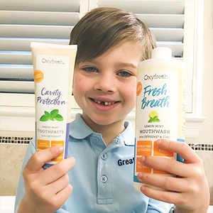 Our no fluoride mouthwash helps fight plaque and helps moisturize gums from dry mouth.