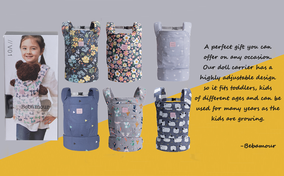 Bebamour Baby Doll Carrier for Kids Front and Back Carrier Original Cotton Baby Carrier for Doll for Boys /& Girls Black Flower