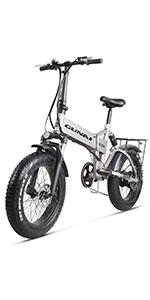 GUNAI Bicicleta Eléctrica 500W 20 Pulgadas 48V 12.8Ah Neumático ...