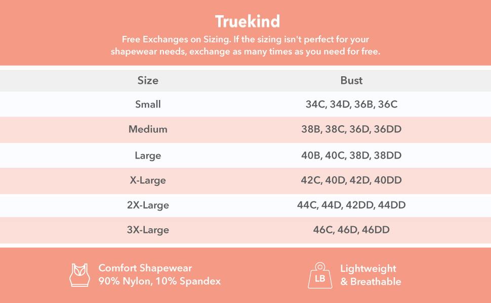 truekind bra sizing chart