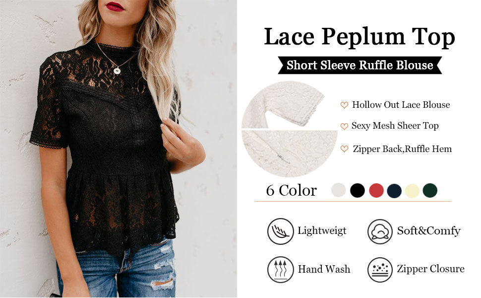 Womens Casual Cap Sleeve Scoop Neck Lace Mesh Peplum Flared Blouse Tunic Top