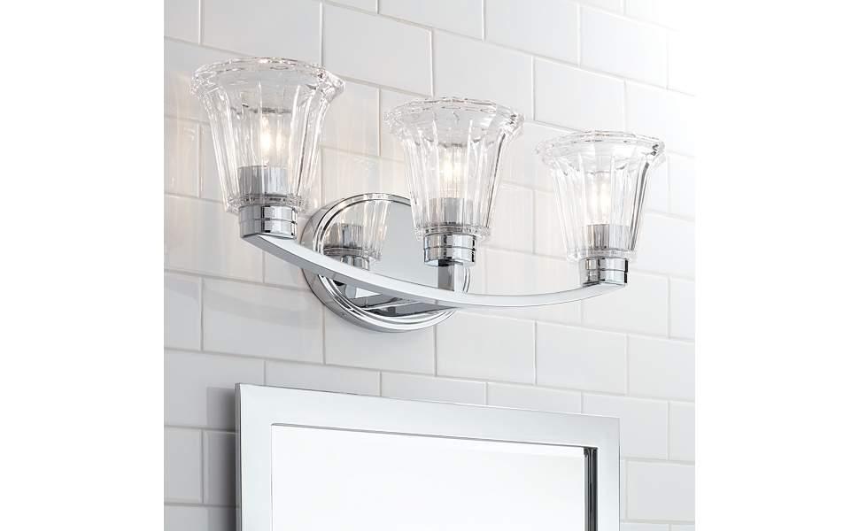 "Hughson 24"" Wide Chrome and Glass 3-Light Bath Light"