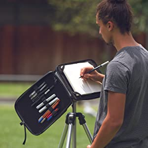 Tripod-Mountable for All Media Types Weatherproof Art Tools Carry Case and Drawing Table in One Etchr Slate Mini Satchel with Tool Management System Compact Art Studio for Artists on The Go