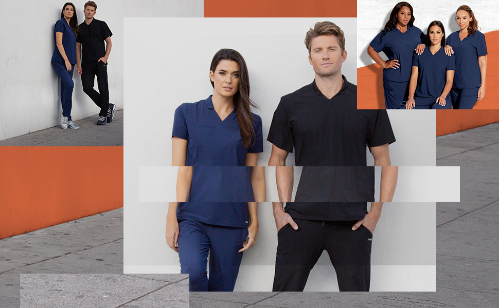 Collage of different nurses wearing Barco Uniforms, two on the left, two in middle, three on right