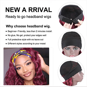 burgundy headband wig burgundy wig red headband wig headband wigs