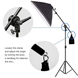 3 point lighting kit Softbox Lights with boom arm