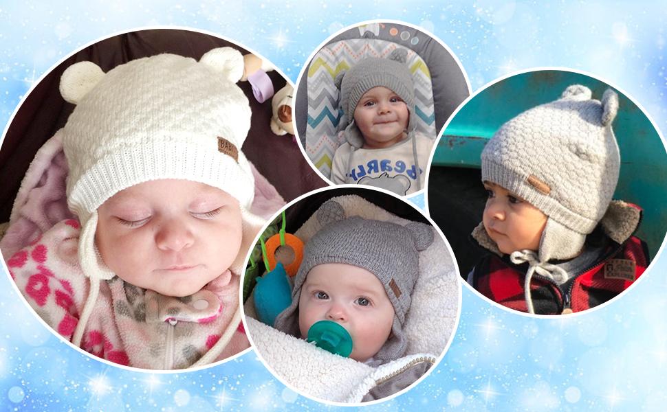 White dorisdoll Baby Hat Winter Beanie Earflaps Warm Fluffy Cute Bear Cap Soft Fleece Lining Hats for Toddler Infant Boys Girls Kids 2-36 Months Unisex