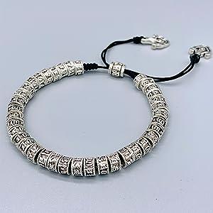 Reclaiming Zen Bracelet en Argent pour Illumination de Mantra Bouddhiste Tib/étain Om Mani Padme Hum