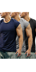 mens 3 pack gym muscle shirt