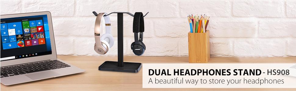dual headphones stand