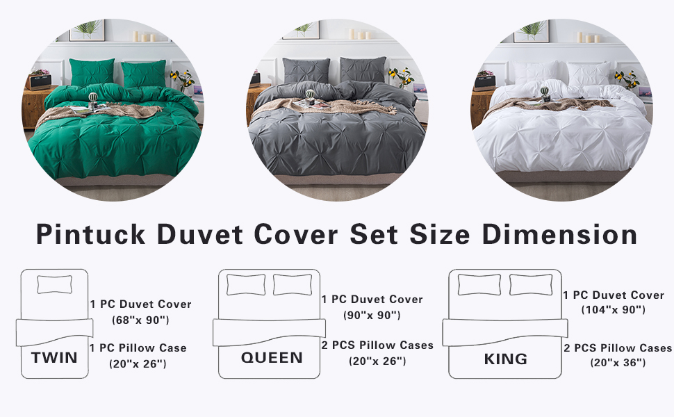 Grey Queen Size Pinch Pleated Duvet Cover