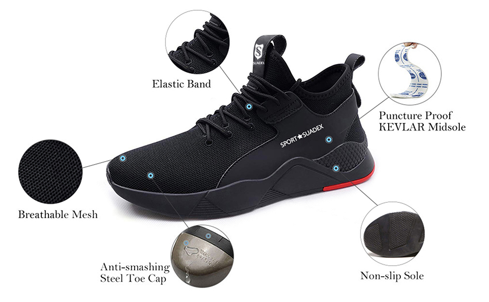 SUADEEX Safety Shoes Men, Safety Shoes for Women, Steel Toe Cap Trainers for Mens and Womens