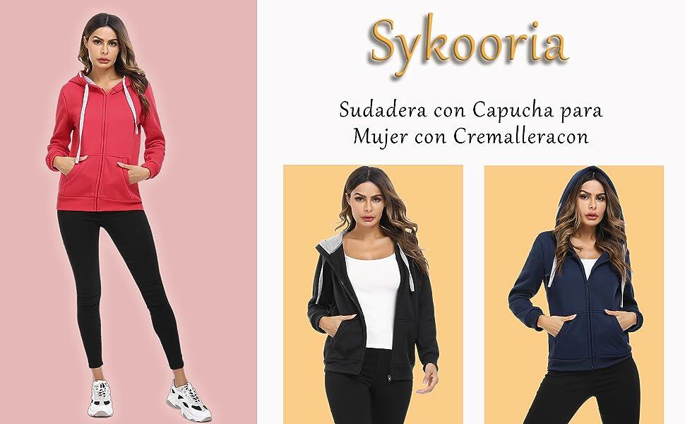 Sykooria Sudadera con Capucha para Mujer Chaqueta Deportivo con Cremallera y 2 Bolsillo Invierno Oto/ño para Mujeres Casual Correr Fitness