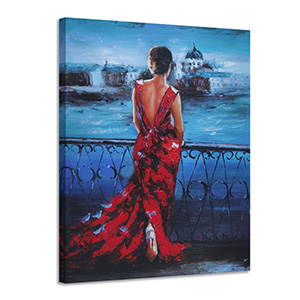 Vintage Romantic Lady in Red Canvas Wall Art  Navy Blue Picture