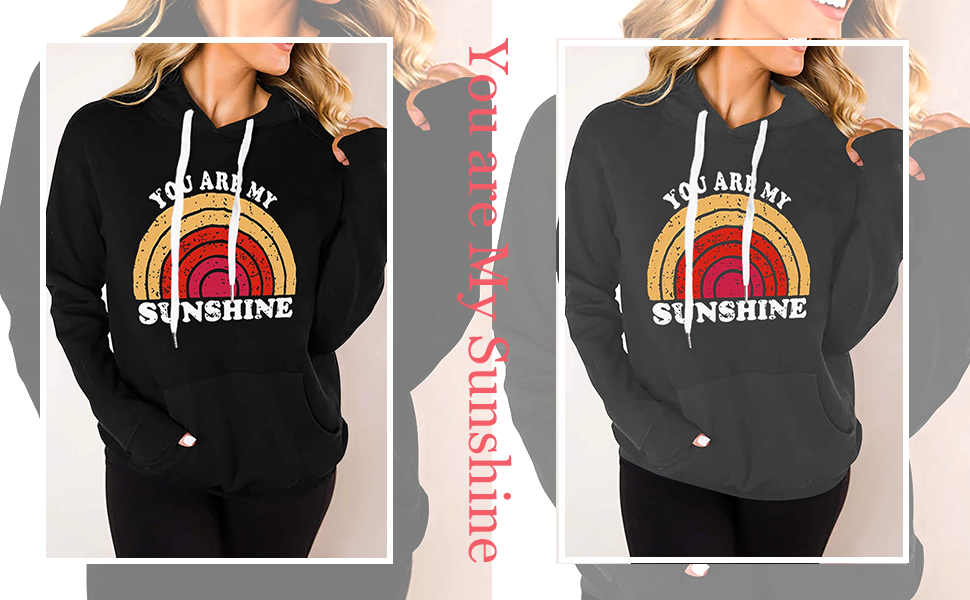 Casual Hoodie Sweatshirt You are My Sunshine Graphic Long Sleeve Shirt Pullover Hooded Sweater Top