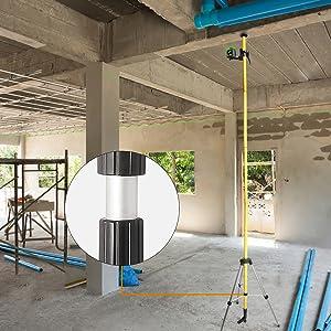 Versatile laser mounting pole LP36 helps to mount laser tools: Huepar LPGS / 12ft Lasermontagefeld: ¡ñTige de support polyvalente Huepar LP36 en aluminium avec revêtement en polyuréthane pour plus de durabilité. Facile à lire, les graduations sont marquées en noir sur le pôle jaune en pouces et en centimètres. ¡ñUne tige télescopique idéale pour tout chantier utilisant des outils qui peuvent être facilement placés à n'importe quelle hauteur entre le sol et le plafond. ¡ñLa section de tige de queue avec une section de tige télescopique arbitraire peut télescoper encore 53 cm. ¡ñIl mesure 3,7 m lorsqu'il est entièrement assemblé avec toutes les sections et les deux pièces d'extrémité.