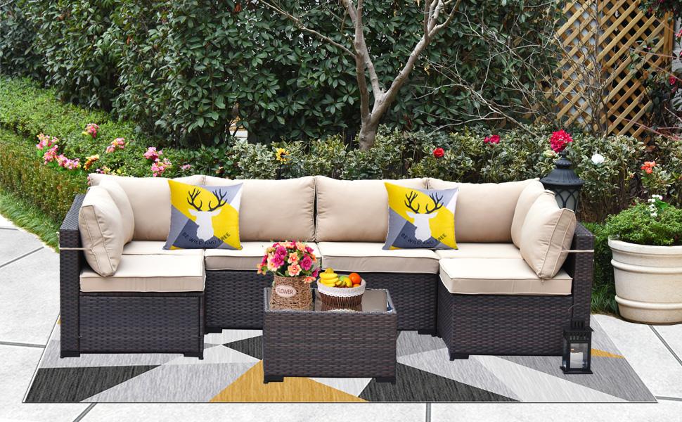 7-Pcs Patio Furniture Sofa Set Brown