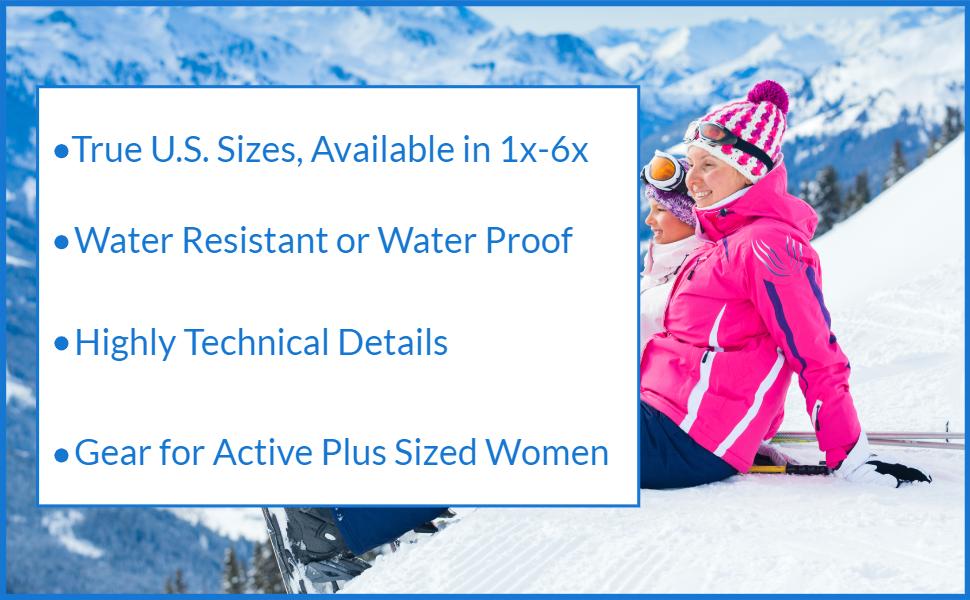 plus sized woman skiwear for curvy girls snow jackets pants