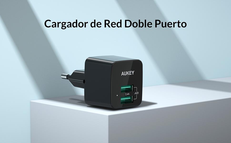 AUKEY Cargador de Red Ultra Compacto Doble Puerto 2,4A Cargador Móvil con Tecnología AiPower para iPhone 11 Pro / 11 Pro Max / 11 / XS / XS Max / XR, ...