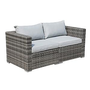 Patiorama Patio Sectional, Outdoor Patio Furniture Sets Rattan Sofa Wicker Furniture Set