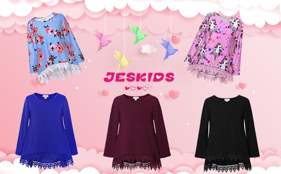 JESKIDS Girls Lace Tunic Tops Unicorn Short//Long Sleeve Loose Blouse T-Shirts with Pockets 4-11 Years