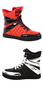 Glitter high top, black silver shoe, red black shoe, alexandra high top sneaker, fashion high top