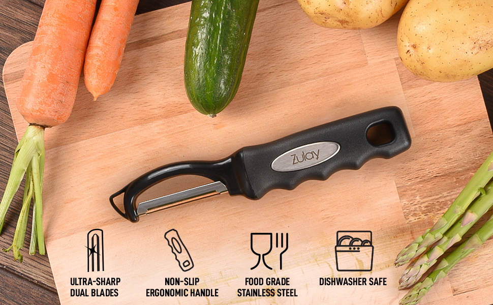 Potatoes and Carrots Zulay Kitchen Premium Swivel Vegetable Peeler Comfortable Ergonomic Grip with Ideal Blade For Vegetables
