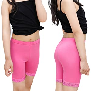 Sports and Under Skirts 7-8 Years Black Pack of 6 Auranso Girls Dance Shorts Solid Color Breathable Bike Shorts
