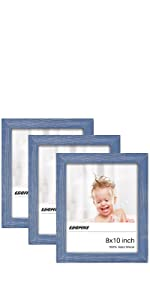 8x10 Rustic Picture Frames Set of 3 Blue
