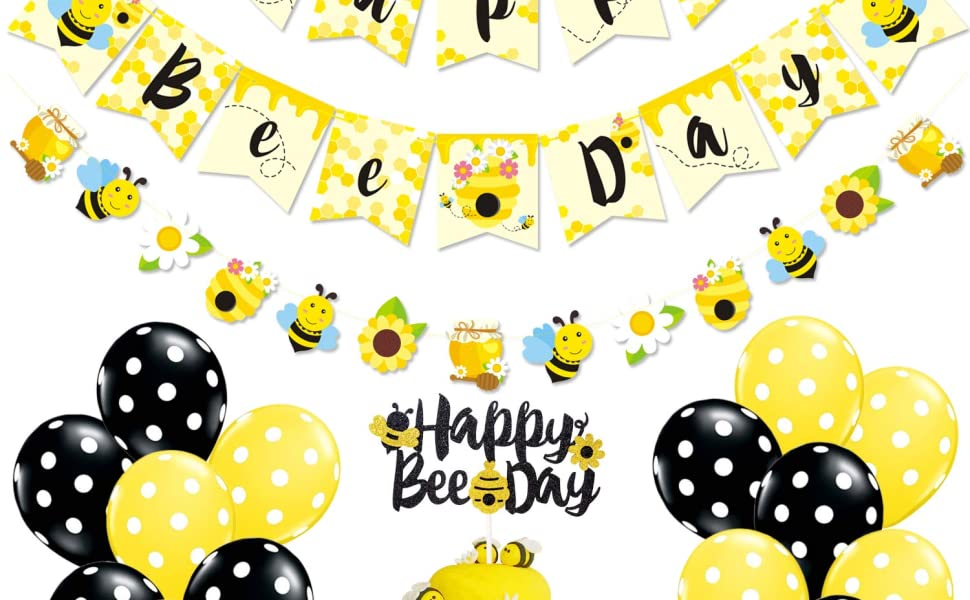 Bumble Bee Party Supplies Happy Bee Day Banner Cake Topper and Bee Balloons for Bumble Bee Themed