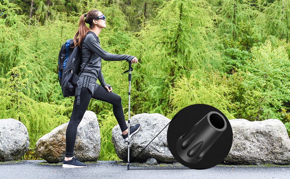 4 x Removable Black Rubber Tips Ferrules for Hiking Trekking Poles