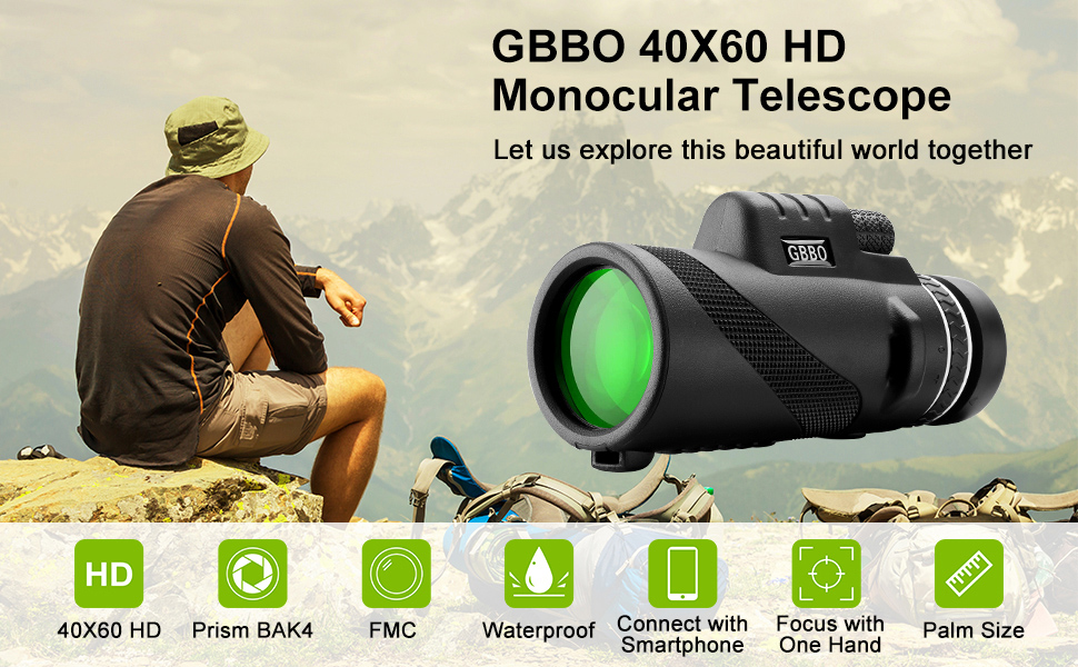 Monocular Telescope with Smartphone Holder & Tripod Monocular with High Power Prism Dual Focus Scope