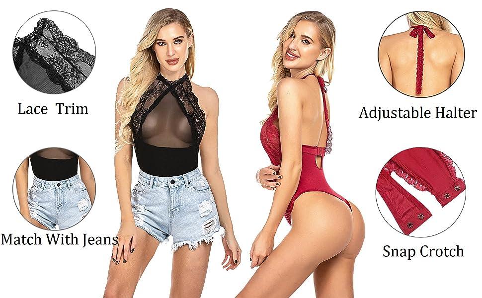 Women Snap Croth Bodysuit Lace Lingerie One Piece Babydoll