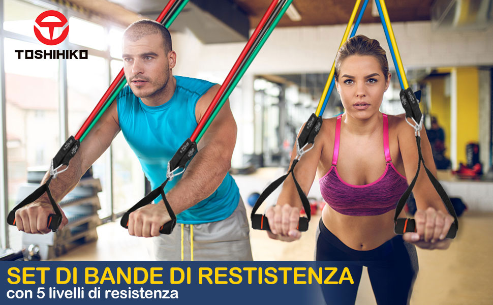 Gomas Elásticas Fitness, Bandas de Resistencia Bandas Elásticas de Caucho Natural con Asas, Correas para los Tobillos, Anclaje para Deportes ...