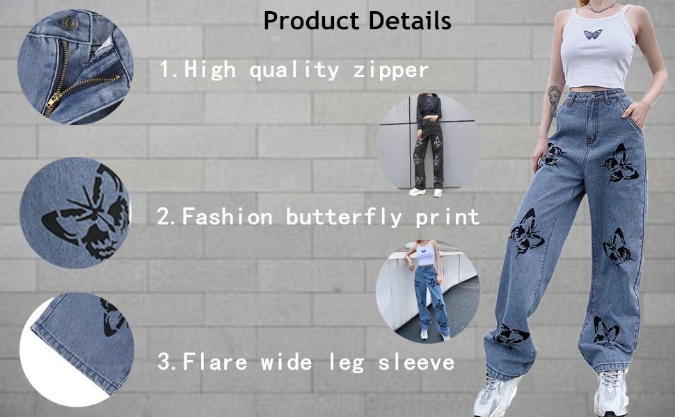 Women Butterfly Loose Jeans
