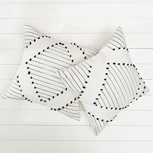 pillow cover neutral cream bohemian textured geometric sham pattern big indian wedding pack 2