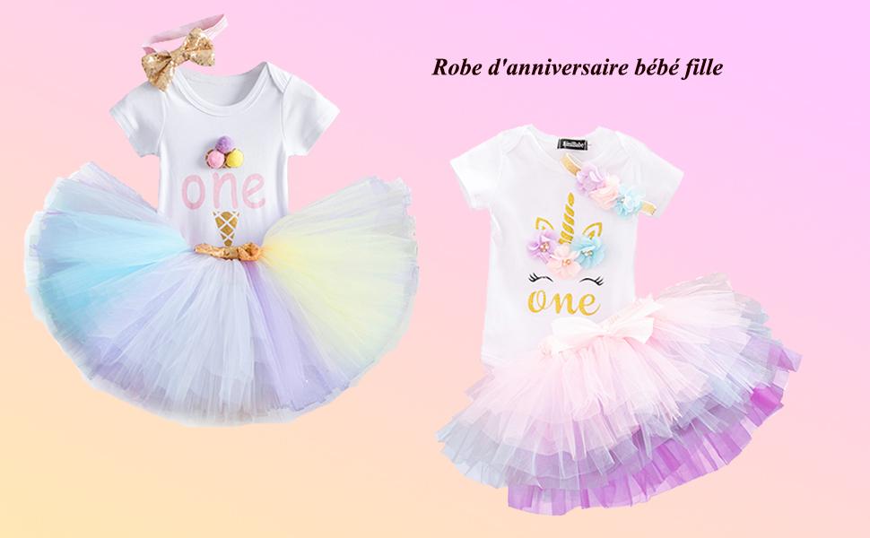 Baby 1st Princesse Anniversaire Gâteau Smash tenue fille 1 ans un nœud rose body