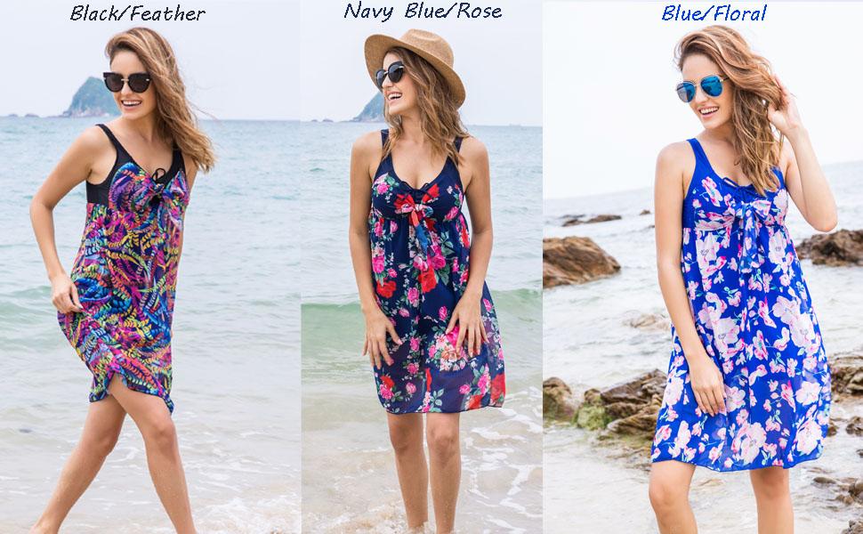 Balancora Damen Badeanzug Einteiles Badekleid Blumen Druck Chiffon Beachwear Strandkleid mit Badehose Bunten Bademode