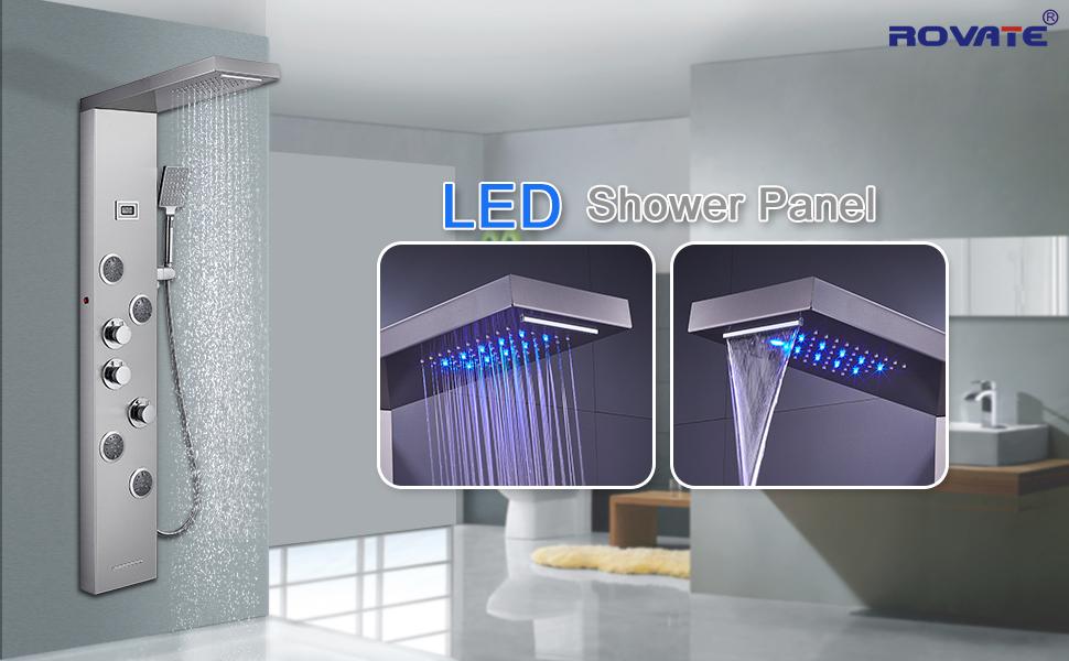 LED SHOWER PANEL BRUSHED FINISH