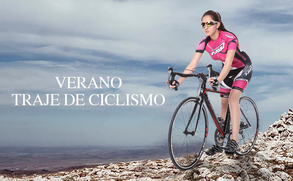 Extreme Pop Traje de Ciclismo para Mujer 4D Acolchado Pantalones Cortos de Verano de Manga Corta: Amazon.es: Deportes y aire libre